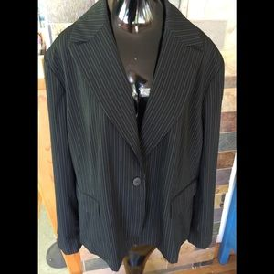 Anne Klein Striped Black & Green blazer SZ 24W